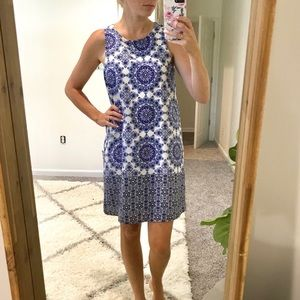 Anthropologie Everly Blue White Shift Dress